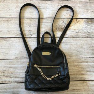 Bebe Gina Mini Backpack Black Quilted Leather Bag